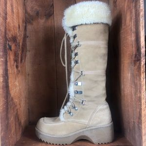 Report   Tall Suede Lace Up Winter Boots